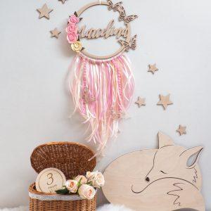 Łapacz snów z motylami i kwiatami dla dziewczynki