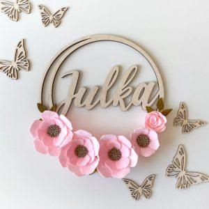 Obręcz dla dziecka z ręcznie robionymi kwiatami
