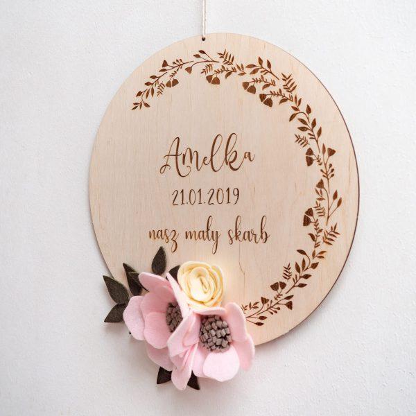 koło z różowym kwiatem 1