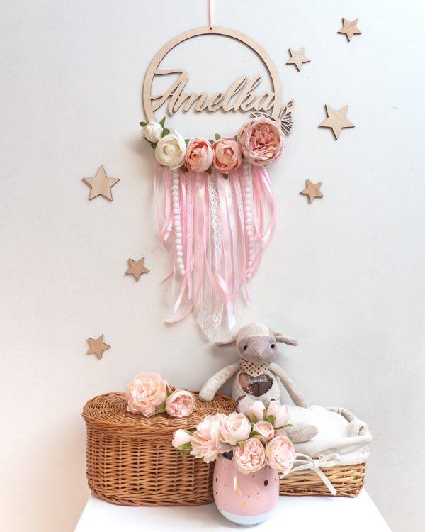 łapacz snów z kwiatkami różowy 2