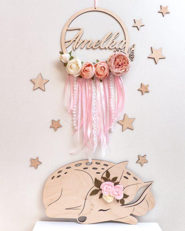 łapacz snów z kwiatkami różowy