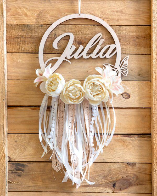 łapacz z kwiatkmi biały