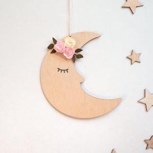 Drewniany księżyc do zawieszenia na ścianę