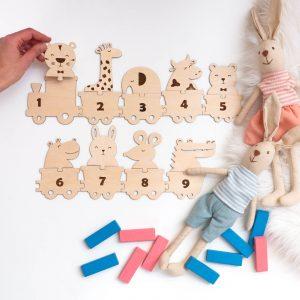Drewniana układanka do nauki cyfr i liczenia montessori