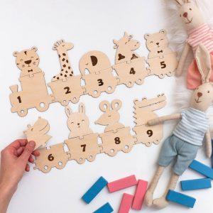 Układanka do nauki liczenia dla dzieci montessori