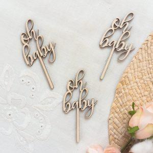 Drewniane mini toppery na baby shower