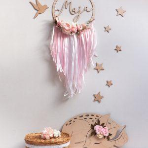 Łapacz snów dla dziewczynki z różowymi kwiatkami