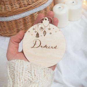 Świąteczne drewniane dekoracje choinkowe