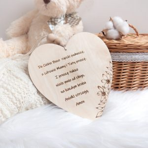Drewniana tabliczka do pokoju dziecka z modlitwą