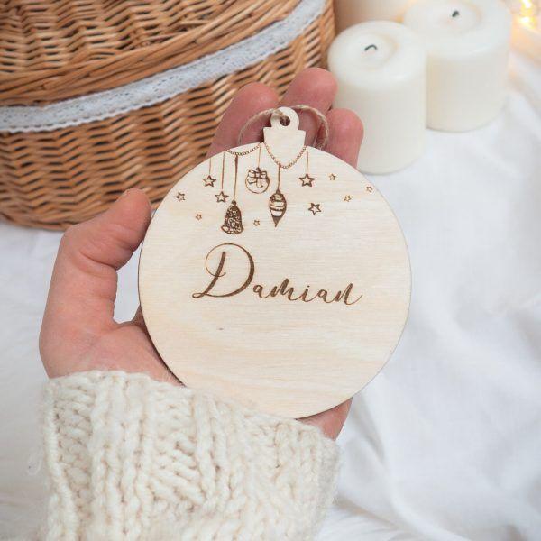 Bombka świąteczna z napisem