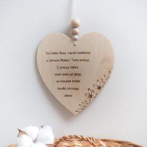 Drewniane serce z modlitwą dla dzieci