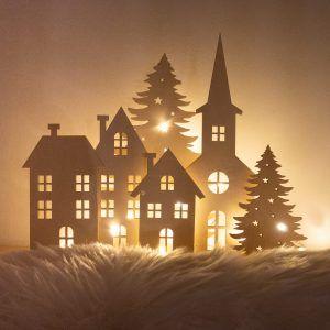 Drewniana dekoracja świąteczna lampion dekoracyjny
