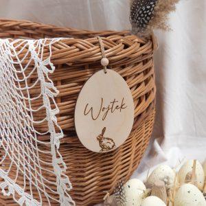 Zawieszka drewniana jajko z imieniem