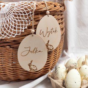 Zawieszki drewniane jajka z imieniem dziecka