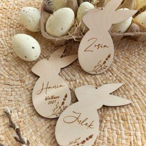 Wielkanocne dekoracje króliki z imieniem