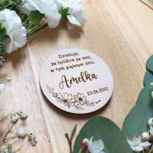 Drewniany magnes z podziękowaniami dla gości