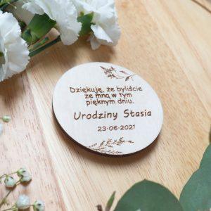 Drewniane magnesy dla gości, podarunek dla gości