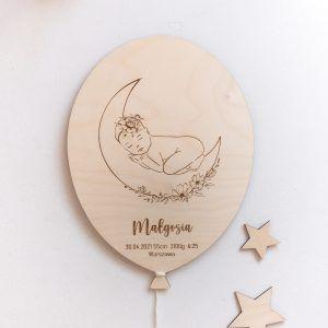 Drewniany balonik z metryczką dla dziecka